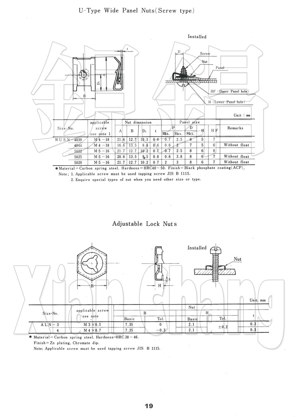 U-Type Wide Plate Nuts (Screw Type) U型寬板夾片螺母(螺釘型)